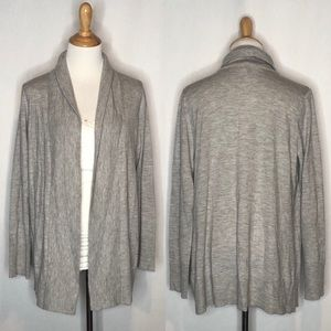 Eileen Fisher 100% Cashmere Gray Open Cardigan m